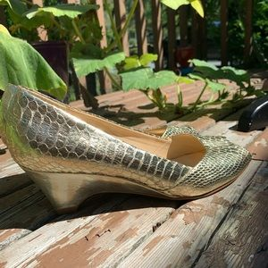 Impo Gold Wedge Sandals Size 8M